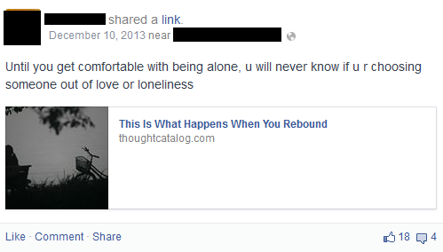 She hid her relationship status on FB, acting weird